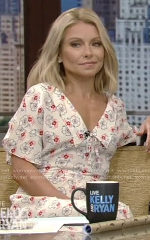 Kelly's white floral midi dress on Live with Kelly and Ryan