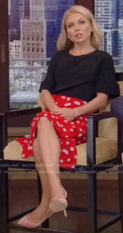 Kelly's red strawberry print skirt on Live with Kelly and Ryan