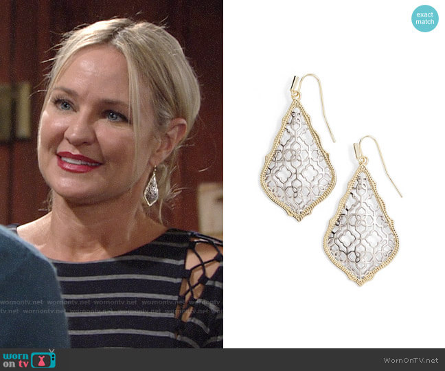 Kendra Scott Addie Earrings in Gold Rhodium worn by Sharon Collins (Sharon Case) on The Young & the Restless