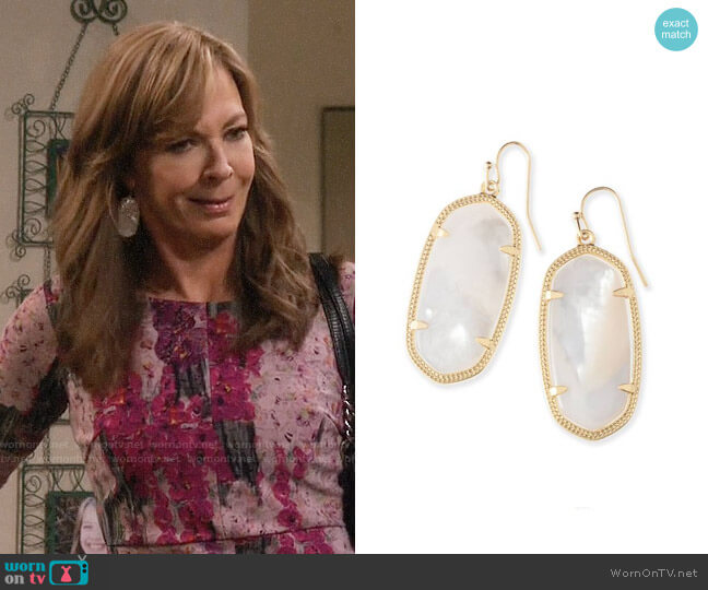 Kendra Scott Elle Earrings in White Mother of Pearl / Gold worn by Bonnie Plunkett (Allison Janney) on Mom