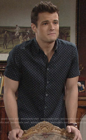 Kyle's navy dotted shirt on The Young and the Restless