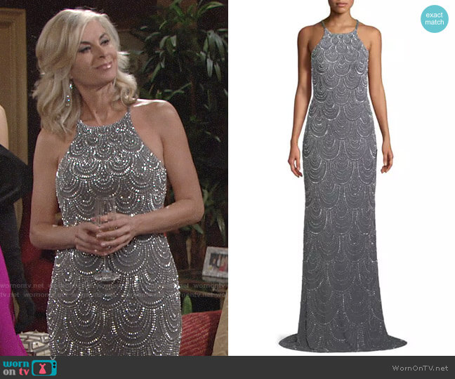La Femme Allover Beaded Open-Back Gown worn by Eileen Davidson on The Young & the Restless