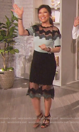 Julie's lace ribbed dress on The Talk