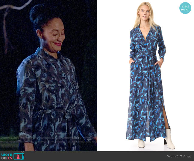 L'Agence Cameron Camo Shirt Dress worn by Tracee Ellis Ross on Blackish