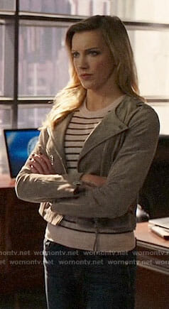 Laurel's striped sweater and grey suede jacket on Arrow