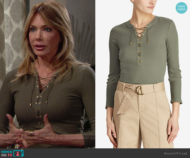 LAUREN Ralph Lauren Ribbed Lace-Up Top worn by Taylor on The Bold and the Beautiful