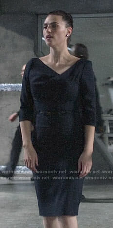 Lena's navy draped neck sheath dress on Supergirl