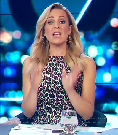 Carrie's leopard print sleeveless dress on The Project