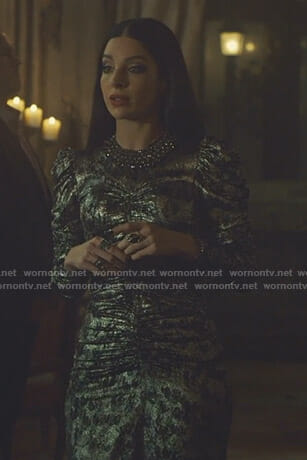 Lilith's metallic ruched dress on Shadowhunters