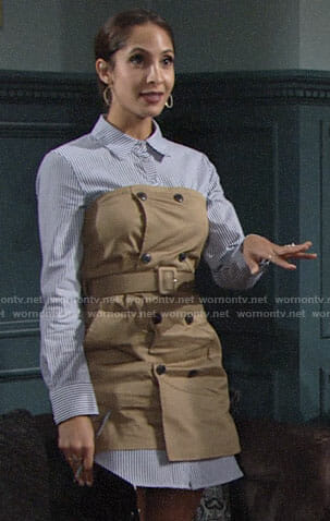 Lily's trench dress with striped shirt on The Young and the Restless
