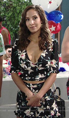 Lily's black floral crop top and shorts on The Young and the Restless