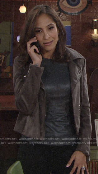 Lily's leather top and suede moto jacket on The Young and the Restless