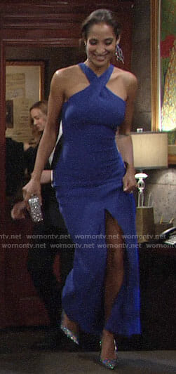 Lily's blue cross-neck gown on The Young and the Restless