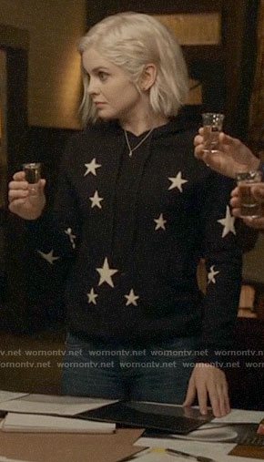 Liv's black star print hoodie on iZombie
