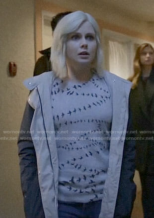 Liv's bird print sweater on iZombie
