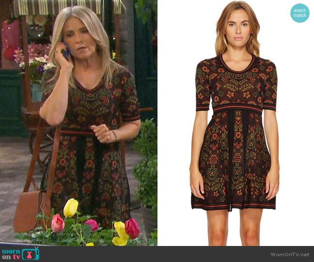 M Missoni Floral Jacquard Dress worn by Melissa Reeves on Days of our Lives