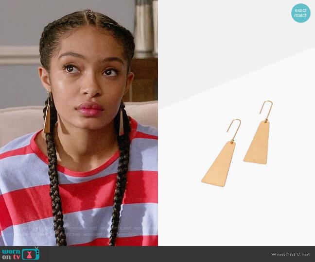 Madewell Petaldrop Earrings worn by Yara Shahidi on Blackish