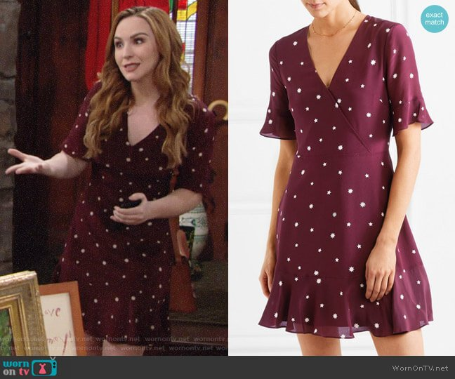 Madewell Printed Silk Mini Dress worn by Camryn Grimes on The Young & the Restless