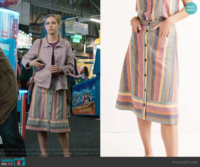 Madewell Rainbow Stripe Midi Skirt worn by Stephanie 'Stevie' McCord (Wallis Currie-Wood) on Madam Secretary