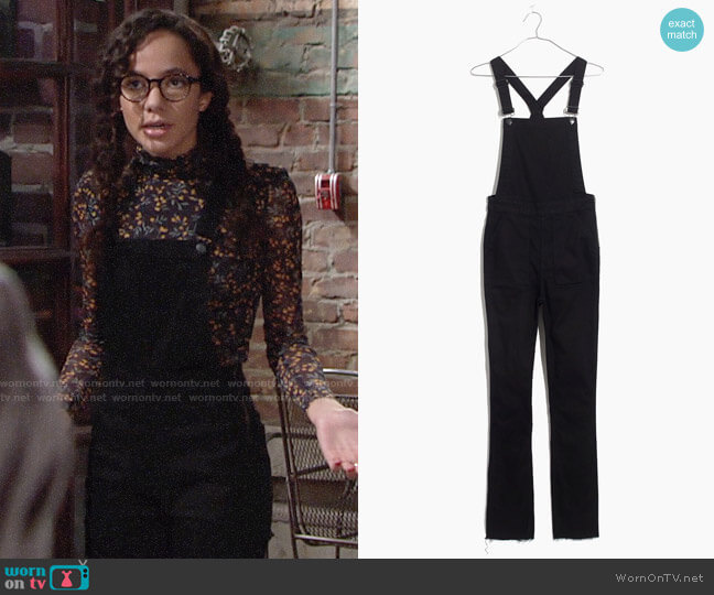 Madewell Skinny Overalls Raw Hem Edition worn by Mattie Ashby (Lexie Stevenson) on The Young & the Restless