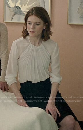 Maia's white pleated blouse on The Good Fight