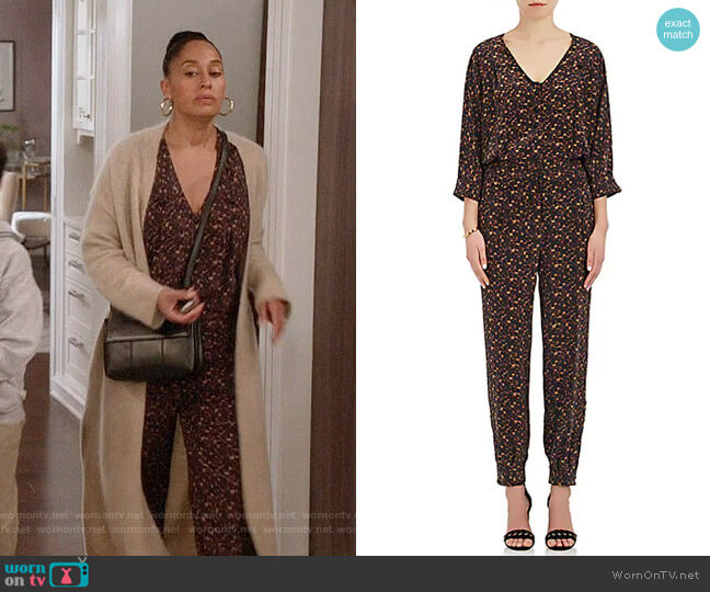Maison Mayle Saint Phalle Leopard-Print Silk Jumpsuit  worn by Tracee Ellis Ross on Blackish