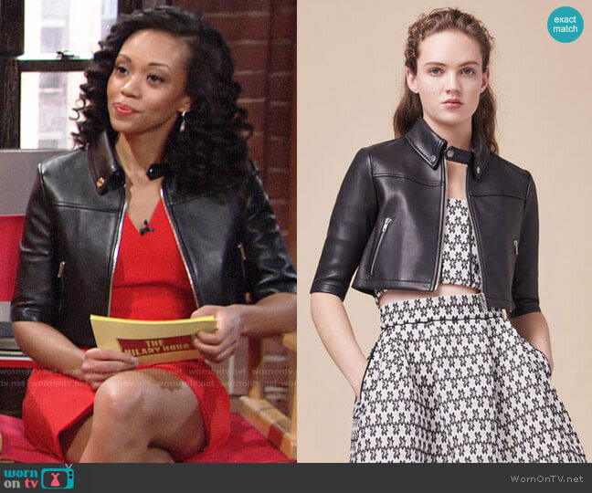 Maje Brittany Leather Jacket worn by Hilary Curtis (Mishael Morgan) on The Young & the Restless