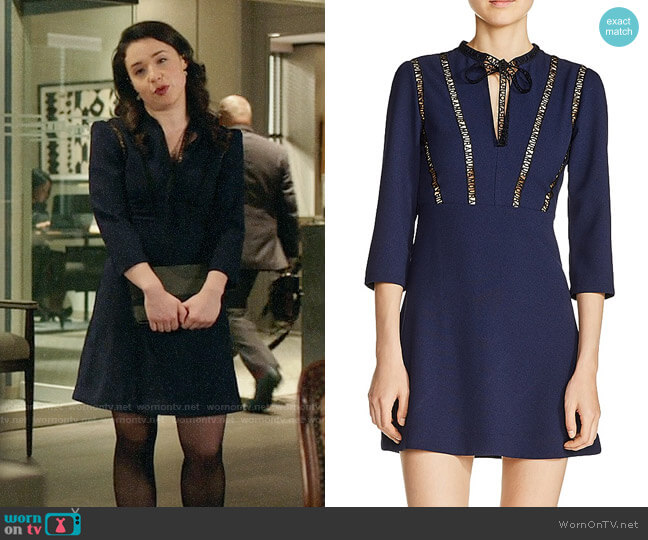 Maje Remala Amour Dress worn by Sarah Steele on The Good Fight