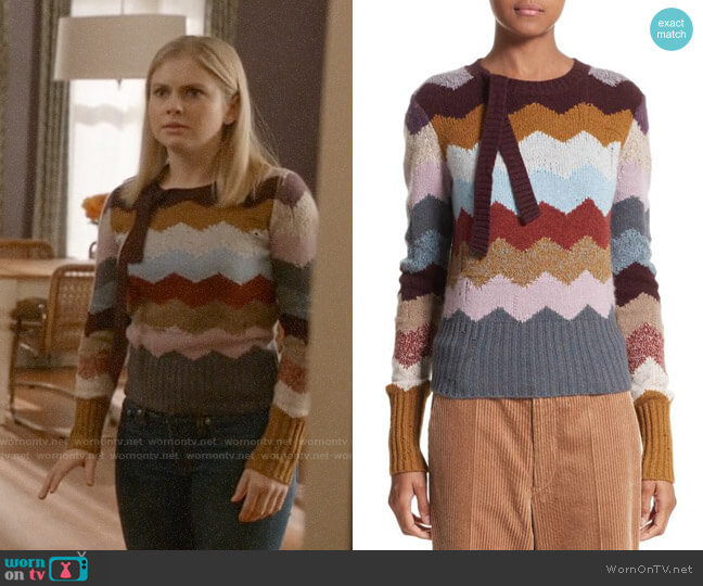 Marc Jacobs Chevron Intarsia Cashmere Sweater worn by Rose McIver on iZombie