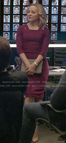 Marissa's purple dress with cutouts on Bull