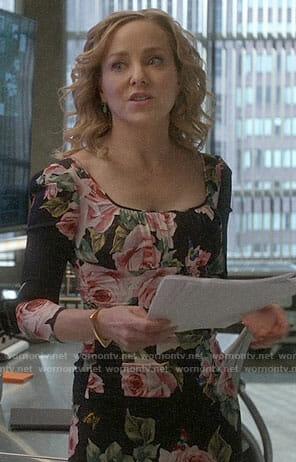 Marissa's rose print dress on Bull