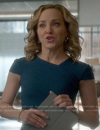 Marissa's teal cap sleeve dress on Bull