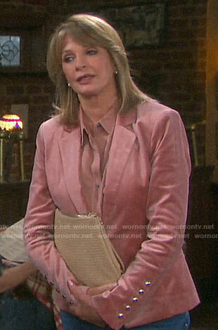 Marlena's pink velvet blazer on Days of our Lives