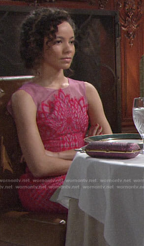 Mattie's pink lace gown on The Young and the Restless