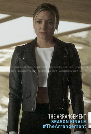 Megan's leather biker jacket on The Arrangement