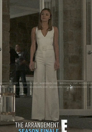 Megan's white jumpsuit on The Arrangement
