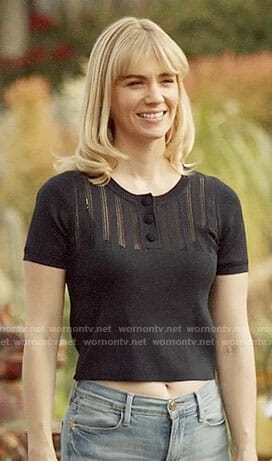 Melissa's navy top with buttons on Last Man on Earth