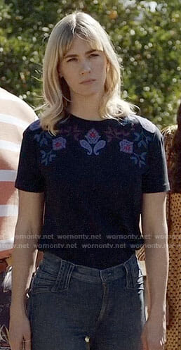 Melissa's navy embroidered top on Last Man on Earth