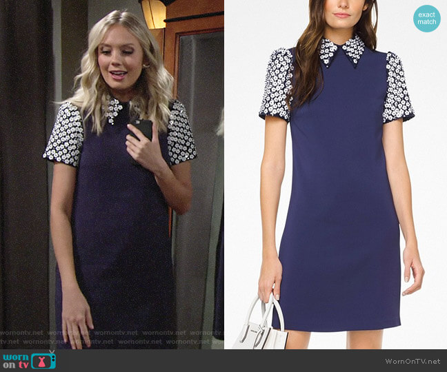 MICHAEL Michael Kors Floral Sequined Collared Shift Dress worn by Melissa Ordway on The Young & the Restless