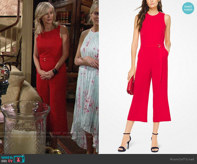 MICHAEL Michael Kors Crepe Belted Jumpsuit worn by Eileen Davidson on The Young & the Restless