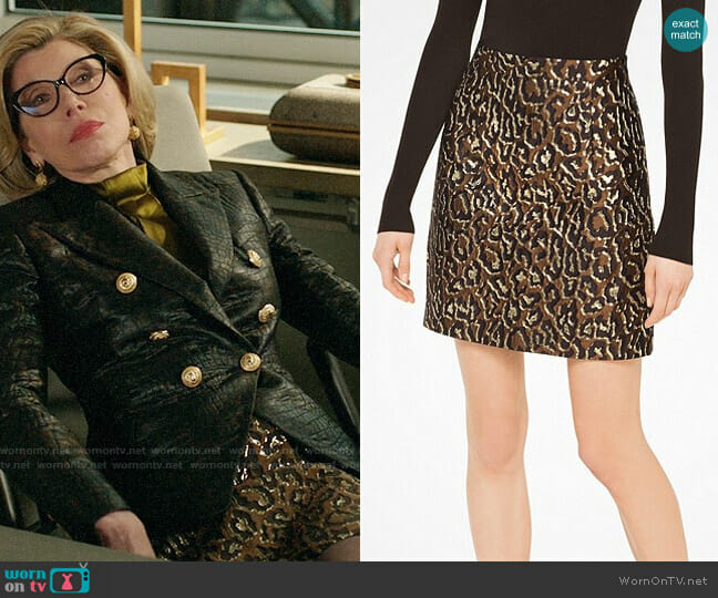 Michael Kors Metallic Leopard Jacquard Skirt worn by Christine Baranski on The Good Fight