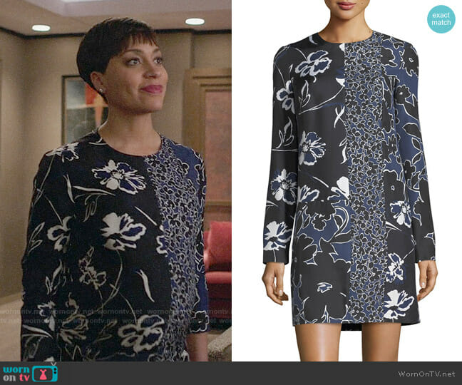 Michael Kors Patchwork Long-Sleeve Shift Dress worn by Cush Jumbo on The Good Fight