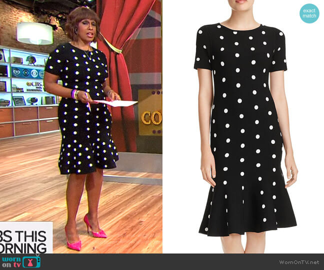 Polka-Dot Knit Mermaid Dress by Milly  worn by Gayle King on CBS This Morning