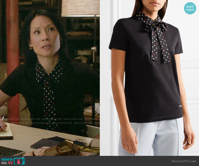 Miu Miu Polka-dot silk-trimmed cotton-jersey T-shirt worn by Joan Watson (Lucy Liu) on Elementary