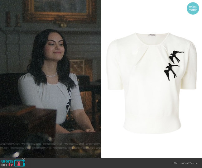 Miu Miu Bird Embroidered Top worn by Camila Mendes on Riverdale