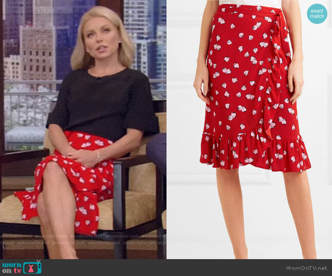 Miu Miu Ruffled Printed Crepe Wrap Skirt worn by Kelly Ripa on Live with Kelly & Ryan