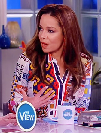 Sunny's mixed print shirtdress on The View