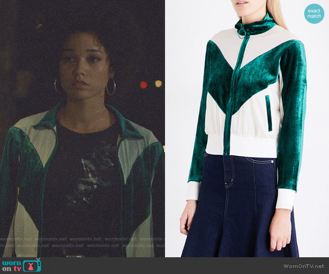 Contrast-Panel Silk-Georgette and Velour Jacket by Mo&Co. worn by Alisha Wainwright  on Shadowhunters