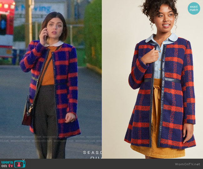 ModCloth Retro Tailored A-Line Coat worn by Stella Abbott (Lucy Hale) on Life Sentence