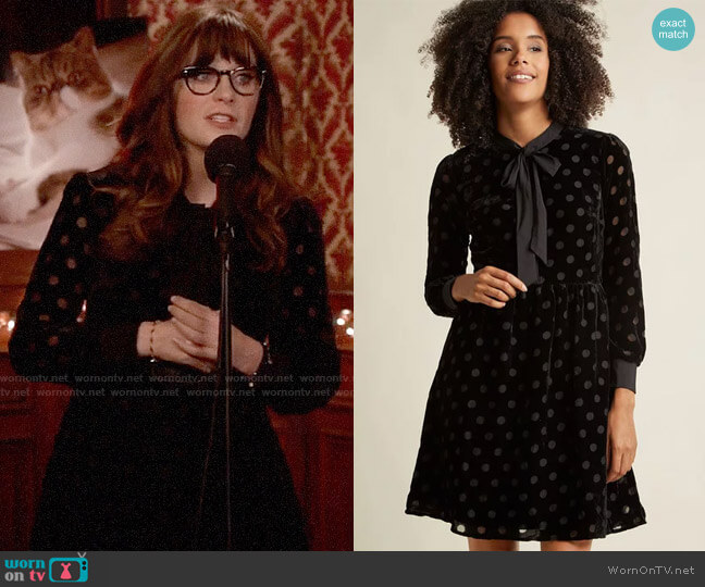 ModCloth Velvet Burnout Shirt Dress with Neck Tie worn by Zooey Deschanel on New Girl
